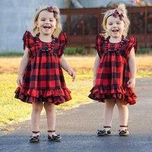 купить girls Vintage Black RED buffalo plaid ruffle flower girls dress cake tutu lace strap dress дешево