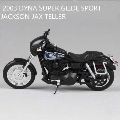 Maisto 1:12 Harley 2003 DYNA SUPER GLIDE SPORT JACKSON JAX TELLER - <font><b>SONS</b></font> <font><b>OF</b></font> <font><b>ANARCHY</b></font> <font><b>Motorcycle</b></font> Die-casts Metal Bike