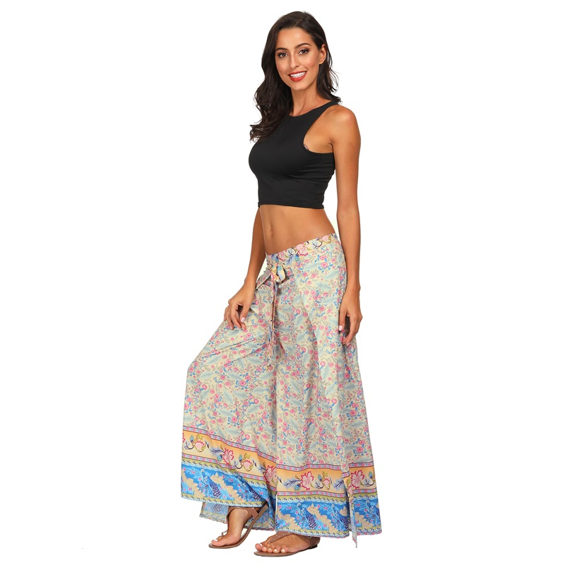 New Girl Floral Print   Wide     Leg     Pant   High Split Women Long Casual   Pant   Summer Boho Beach Elastic High Waist Trouser 2019