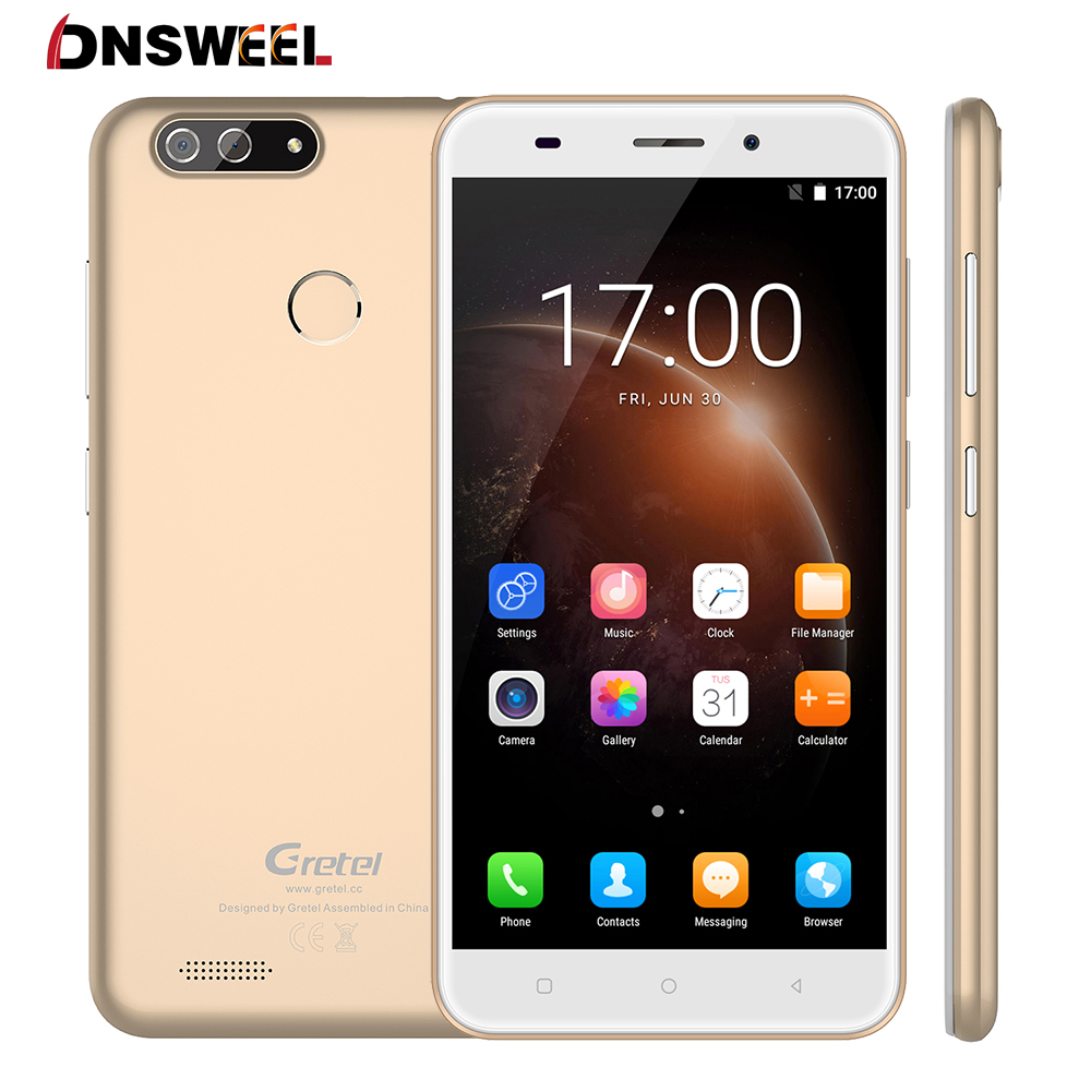 New Gretel S55 Smartphone Android 7.0 MTK6580A Quad core 5.5inch IPS HD Mobile phone 1GB+16GB Dual Rear Camera GPS 3G cell phone