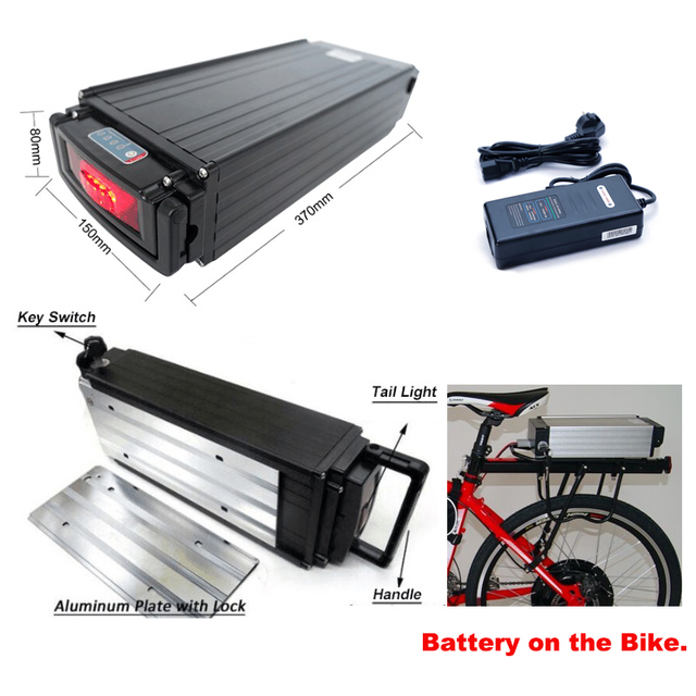 Rear rack battery 52V 17Ah electric bike lithium battery pack for 2000w motor max