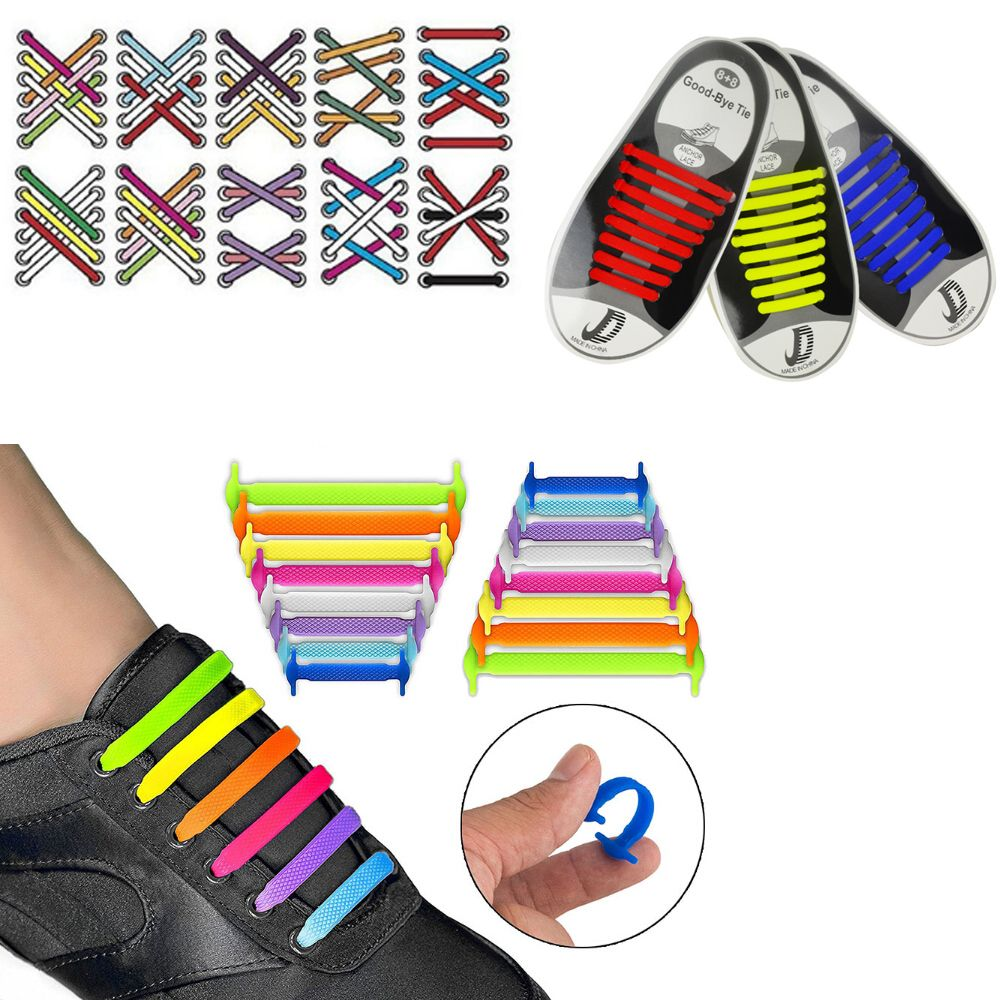 16pcs Lazy Elastic Silicone Shoelaces No Tie Running Sneakers Strings Shoe Laces Hot Shoes Accessories For Men Women