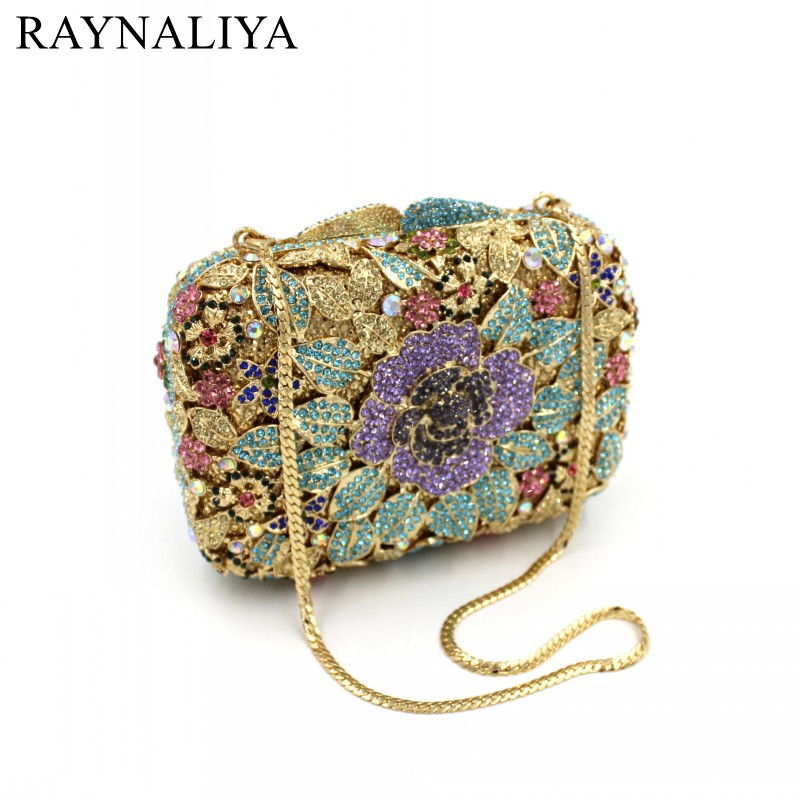 2017 Casual Diamonds Flower Handbags High Quality Ladies Party Purse Women Clutch Shoulder Messenger Eveing Bag Flap SMYZH-F0274