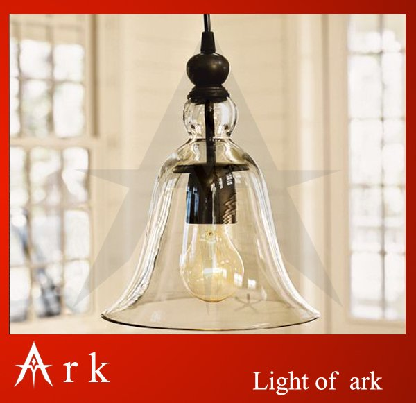 ark light Rustic Glass bell Pendant lamp Antique American style light brief reminisced classical dining room coffee house ark light vintage reminisced black iron pendant light american style classical pendant light dinning room coffee