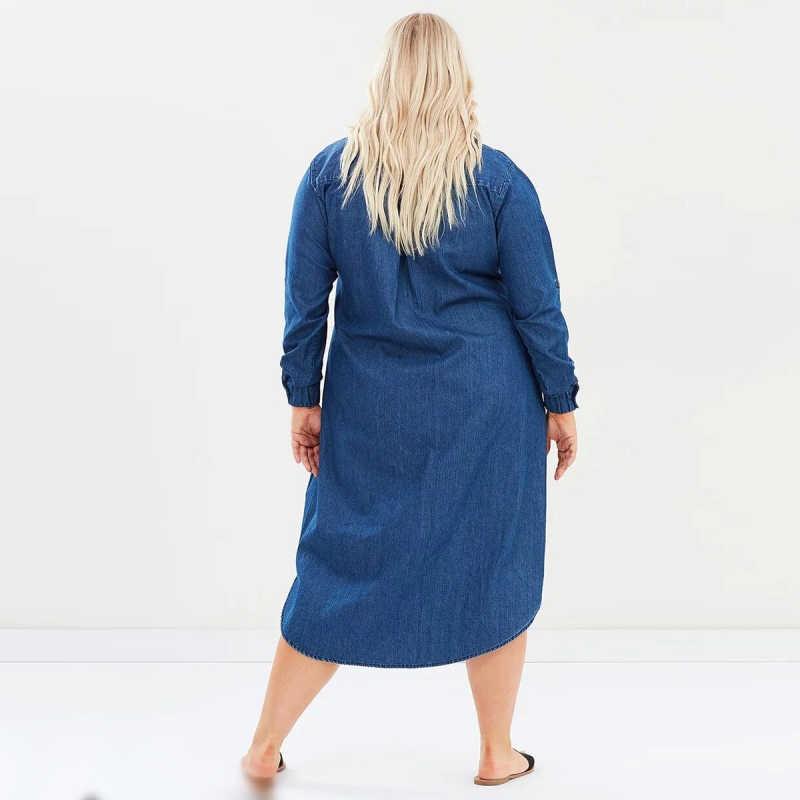 5ede2989c7ea34e ... Джинсовое платье 5XL 7XL 6XL плюс размер платье осень Свободная рубашка  платье с длинным рукавом новые ...