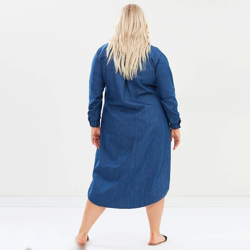 Denim Dress 5XL 7XL 6XL Plus Size Dress Autumn Loose Shirt Dress Long  Sleeve New Ladies Dresses Oversized Vestidos Mujer 2018 -in Dresses from  Women s ... 2673bb51bc54