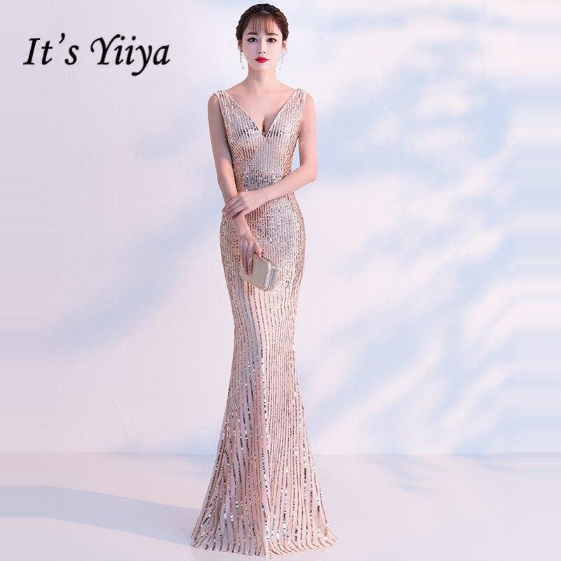 It's YiiYa Evening Dress 2019 Champagne Bling Sequins V-neck Sleeveless Zipper Trumpet Evening Gowns TR042 Robe De Soiree