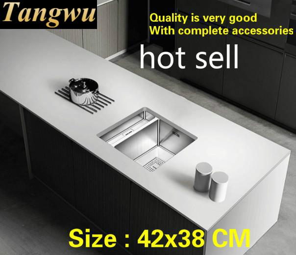 Free Shipping Hot Sell Standard Trumpet Fashion Kitchen Manual Sink Single Trough 304 Food Grade Stainless Steel Mini 420x380 MM