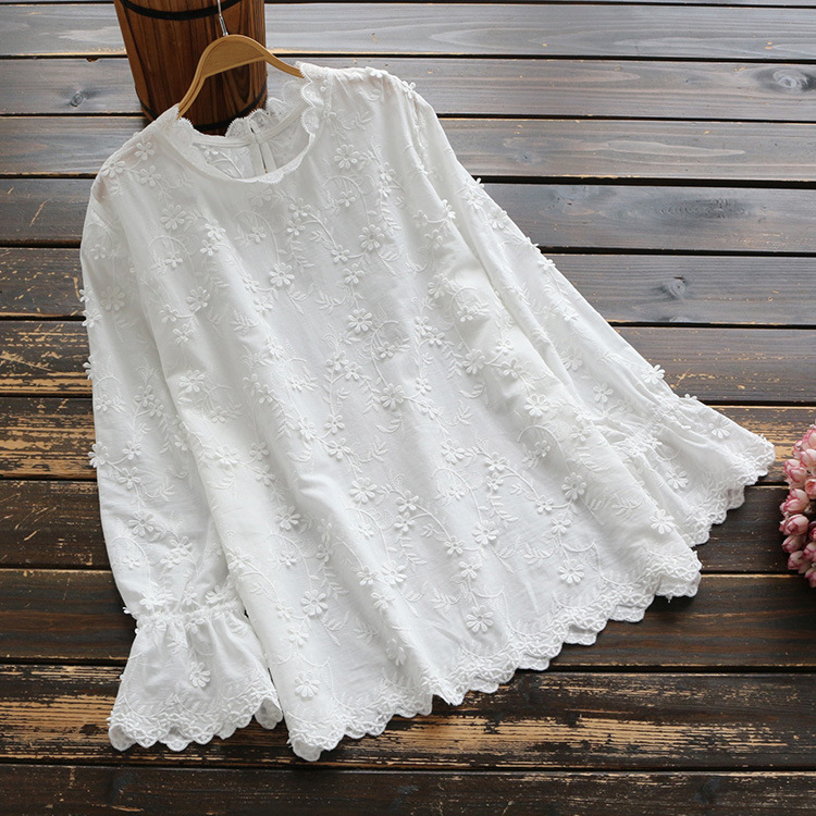 Steady 5785 New Spring Women Sweety Japan Style Blouse Flower Decoration Tops Stand Collar Ruffled Long Sleeve Cotton Solid Shirt Women Women's Clothing