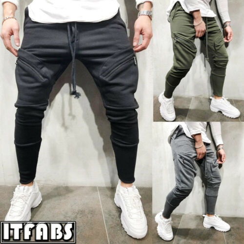 New Fashion Mens Gym Cotton Casual Sports Running Trousers Slim Fit Joggers Work Pants M-3XL Long Sweatpants