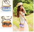 2015 New casual Bohemian women's summer small straw bag beach bag shoulder Buyi ethnic crossbody bag sac a main bolsa feminina