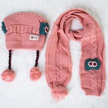 2 pcs Set Winter Baby Hat Scarf Cute Children Girl Toddler Hat Skullies Warm Knitted Wool Cap Scarf Neck Warmer Kids Beanie Caps cn rubr hot 2017 fashion winter warm neck wrap fox scarf caps cute children wool knitted baby shawls hooded cowl beanie caps