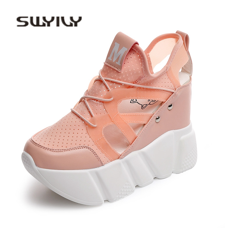 SWYIVY Women Sandals 2018 Summer 12cm Wedge Heels Woman Casual Shoes Thick Bottom Hided Increased Female Sandals Shoes White 2017 summer new fish mouth female sandals breathable net yarn thick bottom glitters high heels casual lace women shoes