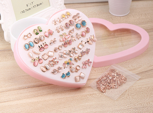 Image 2 - 36 Pairs Rainbow Opal Stud Earring Set For Women Gold Color Butterfly/Cat/Fox/Rabbit Small Earrings Mix set Gift Box Design