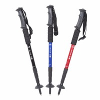 Portable Ultra-light Aluminum Alloy Hiking Walking Stick Outdoor Anti Slip Handle Adjustable 4 Sections 51-110cm