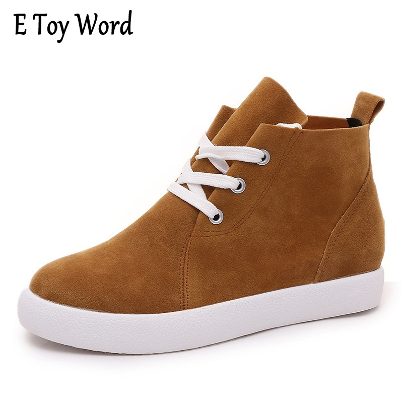 EToyWord 2017 The casual new Martin boots low heel lace-up boots with low boots thick soled shoes increased muffin short boots woman the fall of 2017 a new restoring ancient ways british wind thick boots bottom students with martin boots