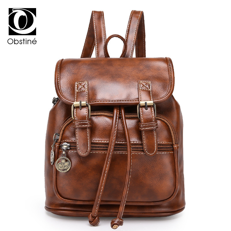 Vintage Women Backpack for Teenage Girls School Bags Fashion Small Backpacks High Quality PU Leather Black Brown Bag Pack 2018 simple style backpack women pu leather backpacks for teenage girls school bags fashion vintage solid school shoulder bag