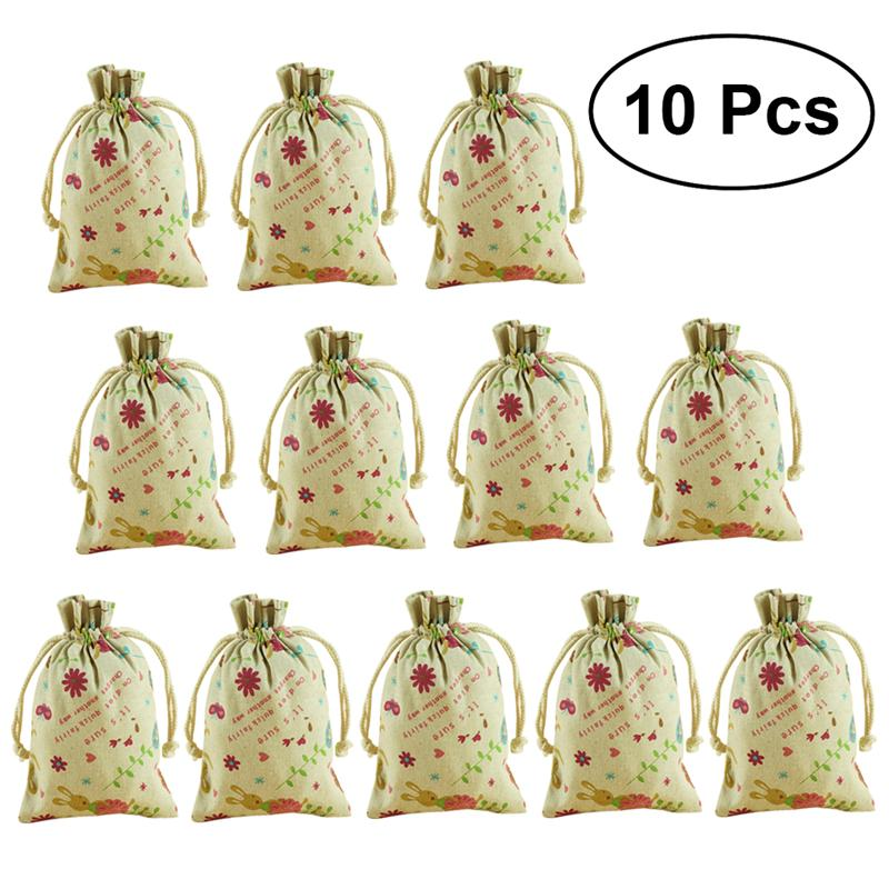 Us 2 31 15 Off 10pcs Cartoon Rabbit Flowers Printed Sacks Cans Gift Bags Mini Present Pouches Linen Sachet For Easter Wedding Party In