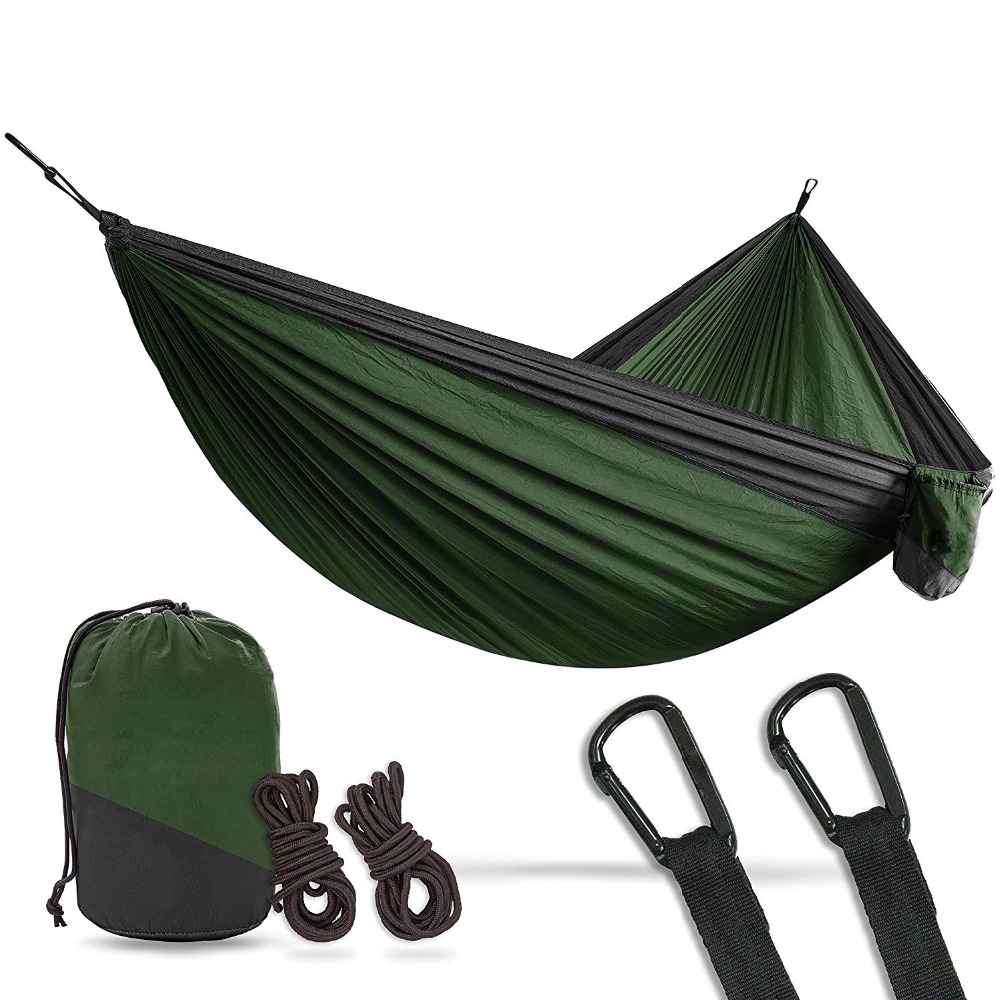 Hammocks 2 Person Double Camping Hammock Xl 10 Foot Nylon Portable Heavy Duty Holds 700lb For Sitting Hanging Big Crazy Promotion Sale