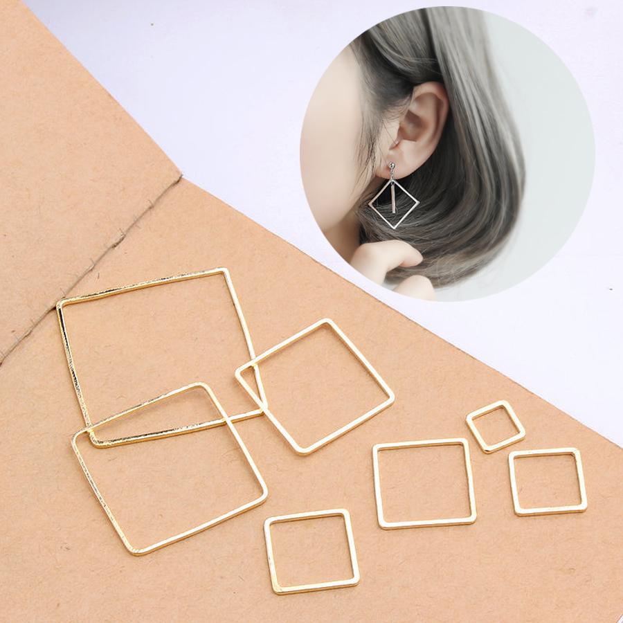 New 8/10/12/14/16/20/25/30mm 10PCS/Pack Square Pendant Jewelry Accessories Finding Golden Silver Rings for DIY Earrings Making