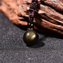 Natural Stone 16mm Gold Obsidian Stone Pendant Transfer Lucky Amulet Crystal Pendant Necklace obsidian necklace natural stone wolf head pendant buddha guardian ball chain carving amulet with obsidian blessing lucky jewelry