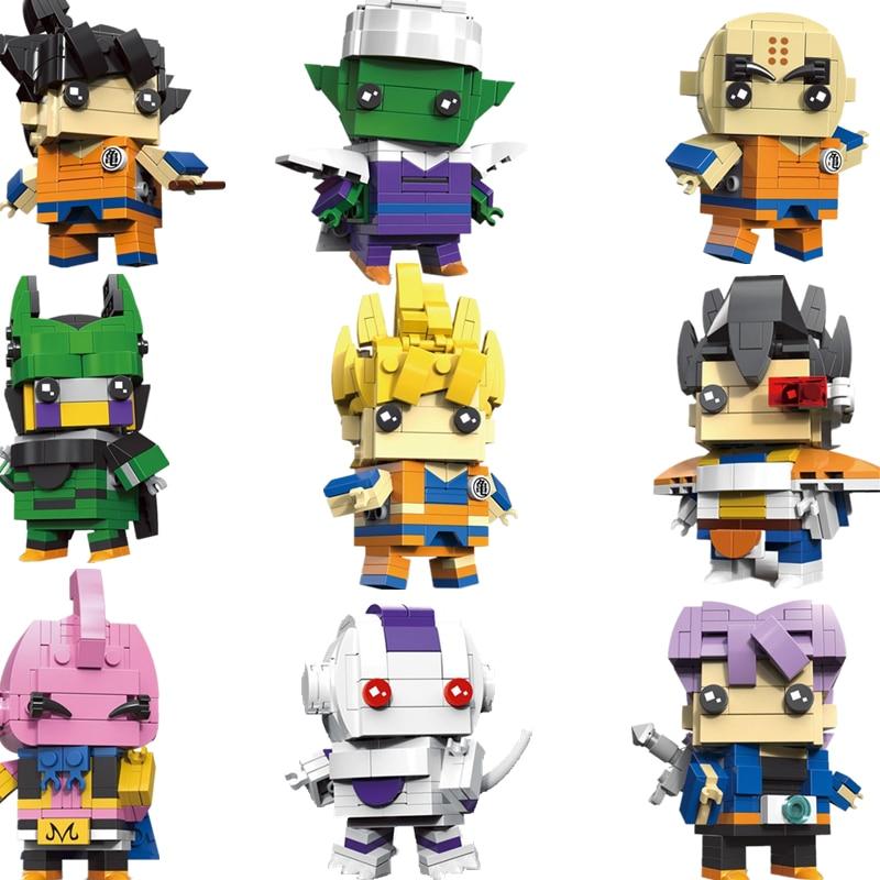 New Cute Saiyan Goku Action Figure Doll Dragonball Z Brick Headz Dragon Ball Z Super Toy Building Blocks Toys For Children
