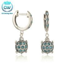 925 plata de ley pendientes de mar tortuga cuelga los pendientes con diamantes de imitación brillante para las mujeres marca gw joyería er1014