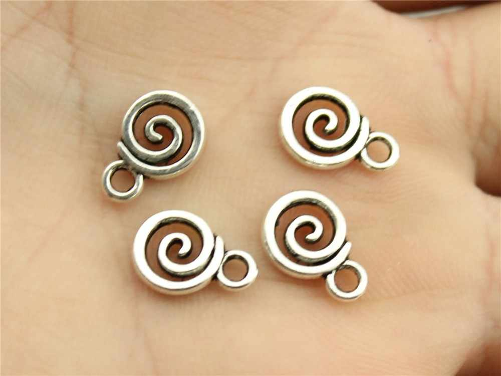 WYSIWYG 20pcs 11x8mm Swirl Charm Pendants For Jewelry Making Antique Silver Swirl Pendants Charm Swirl