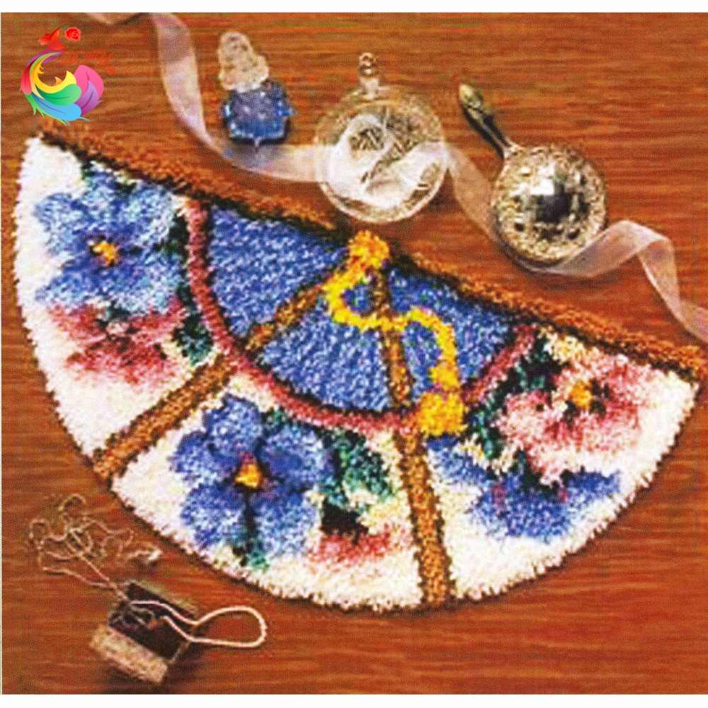 Handmade karpet Latch kait karpet kit crochet kait cross-stitch Wol untuk felting Knitting needles Stitch benang Karpet bordir
