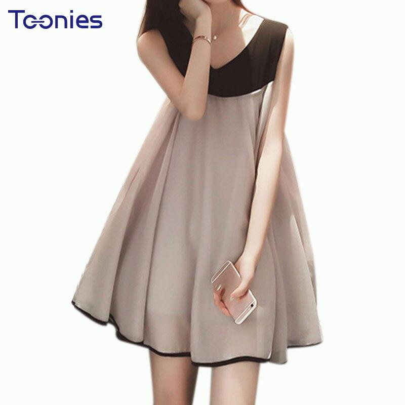 Chiffon Maternity Dresses Patchwork Sleeveless Dress Clothing Plus Size Vest Pregnancy Clothes For Pregnant Women 2017