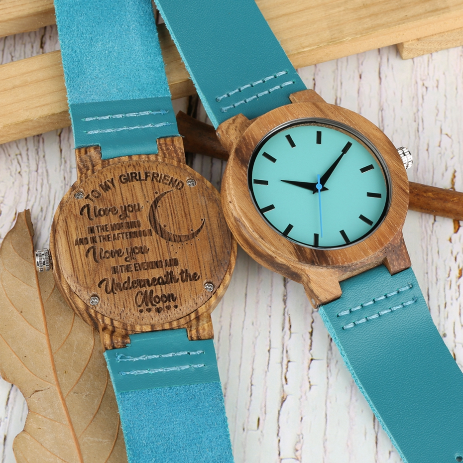 DIY Customized Logo Wood Watch Women Creative Engraved Retro Wooden with Blue Genuine Leather Souvenir Gifts for Girl Girlfriend 2019 2020 2022 (2)