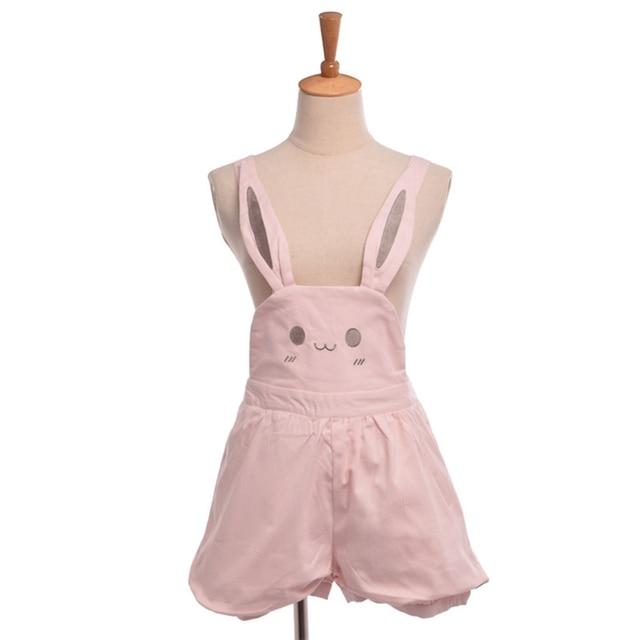 Chicas lindas rosa conejo Bunny orejas mono Lolita mamelucos longitud ajustable tirantes pantalones