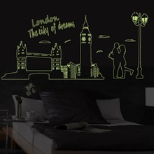 London Bridge Luminous Paste Fluorescent Stickers Glow in the Dark Romantic Art Design Wall Sticker
