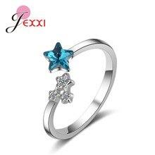 bccb1bcac248 JEXXI Original de la marca de compromiso boda dedos anillos de apertura  forma de estrella de cristal austriaco de Plata de Ley 9.