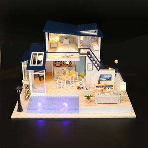 DIY Miniature Dollhouse Furniture Sound Light Creativity Doll House Accessories Doll House Furniture Toys For Children