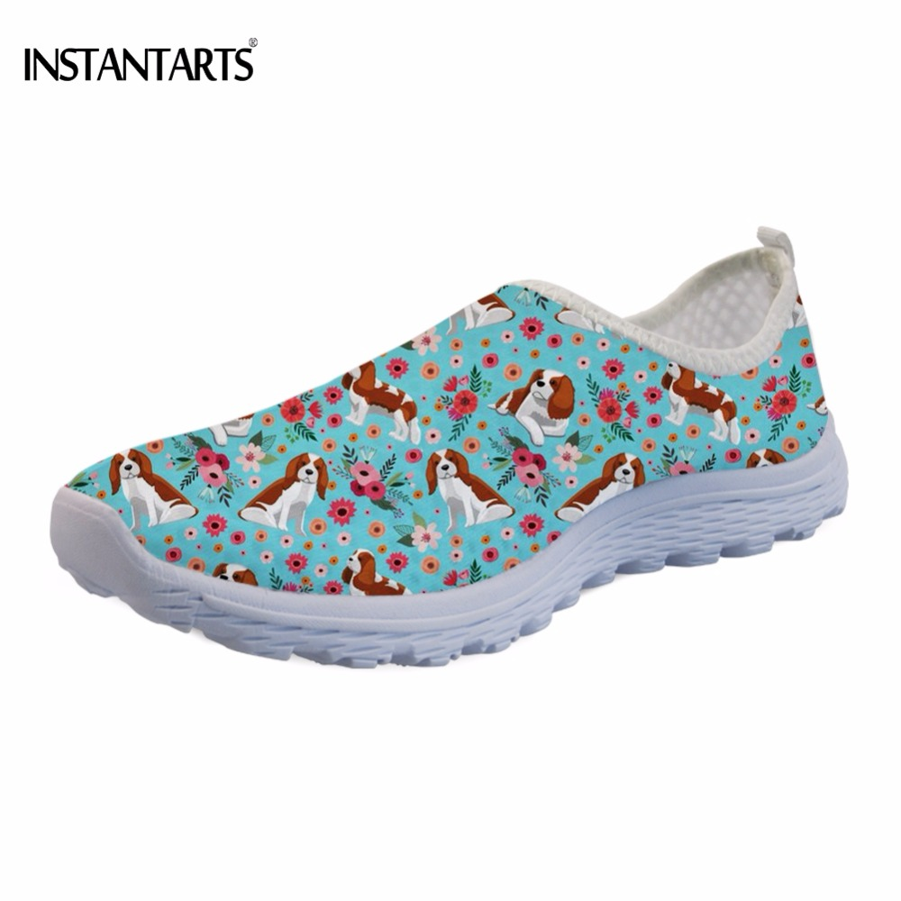 INSTANTARTS Fashion Women Summer Light Air Mesh Shose Funny Dog King Charles Spaniel Flower Printing Flats Slip-on Walking Shoes