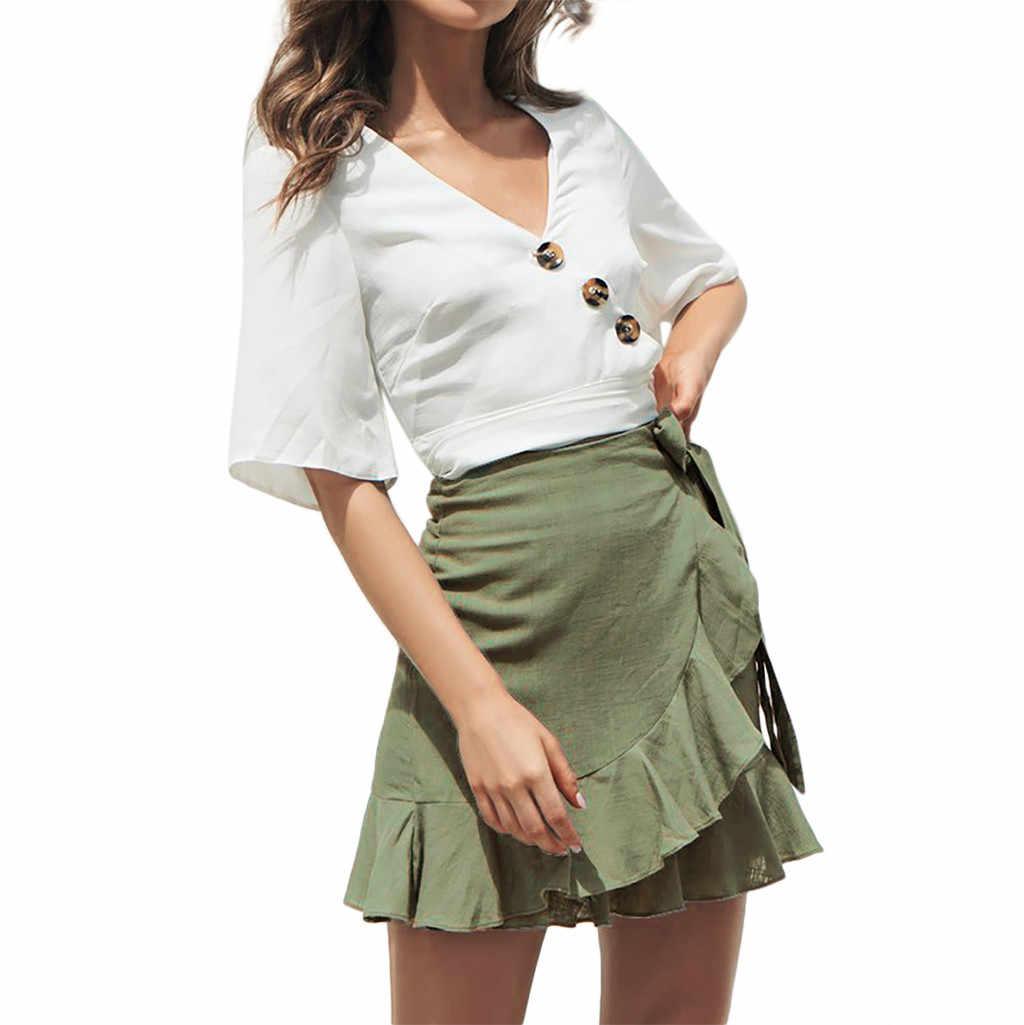 SAGACE אופנה נשים קיץ חצאיות מוצק ראפלס סקסי תחבושת תחרה עד vadim מזדמן קצר אונליין קפלים גותי מיני חצאיות
