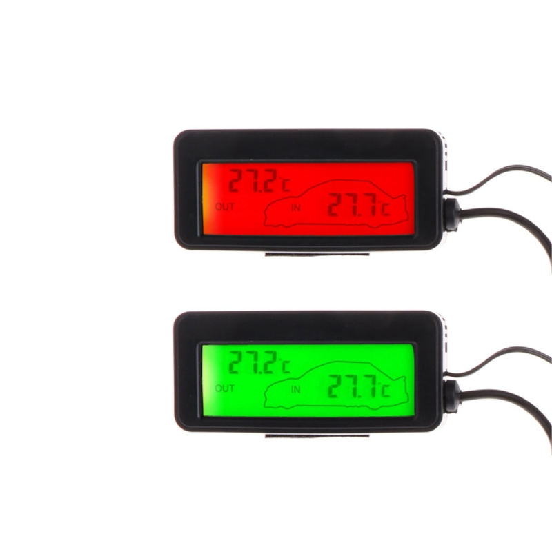 Mini Digital Car LCD Display Indoor Outdoor Thermometer 12V Vehicles 1.5m Cable Sensor L15