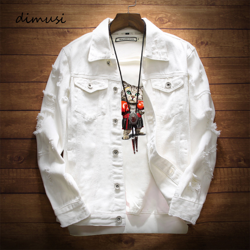 DIMUSI Mens Denim Jacket Trendy Fashion Hip Hop Streetwer Ripped Denim Jacket Mens Jeans Jacket  Male Cowboy Coats 3XL,YA735