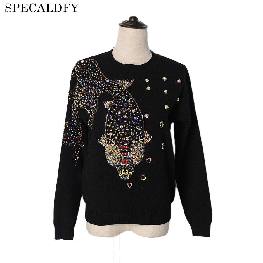 2018 Runway Designer Luxury Autumn Knitted Sweater Women Long Sleeve Fish Hand Beading Brand Sweaters And
