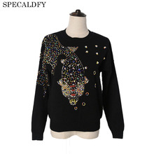 2018 Runway Designer Luxury Autumn Knitted Sweater Women Long Sleeve Fish Hand Beading Brand Sweaters And Pullovers Pull Femme