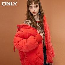 Apenas o pato branco fosco feminino para baixo com capuz para baixo jaqueta com zíper design | 118323510
