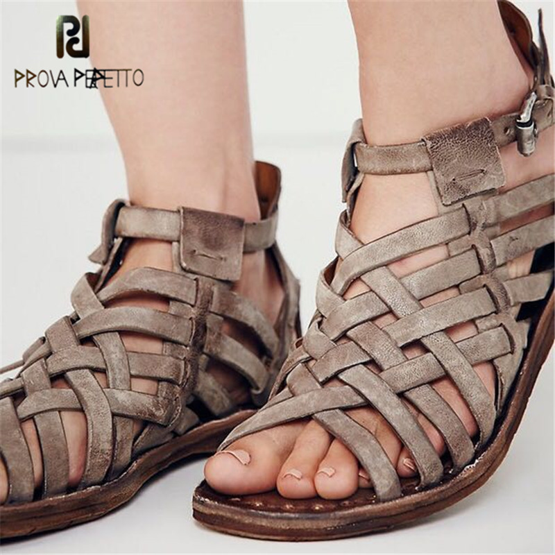 Prova Perfetto Real Leather Do Old Retro Women Sandals Handmade Narrow Band Woven Flat Shoe Women