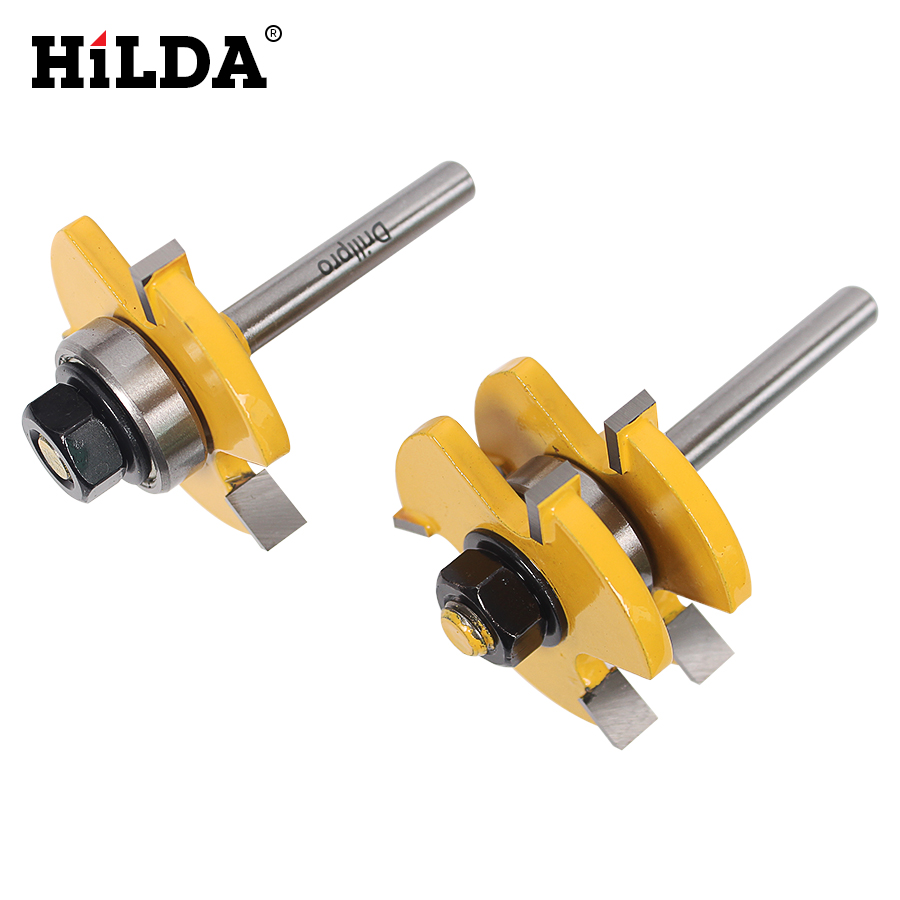 HILDA  Tongue & Groove Router Bit Set 3/4 Stock 1/4 Shank 3 Teeth T-shape Wood Milling Cutter Flooring Wood Working Tools high grade carbide alloy 1 2 shank 2 1 4 dia bottom cleaning router bit woodworking milling cutter for mdf wood 55mm mayitr