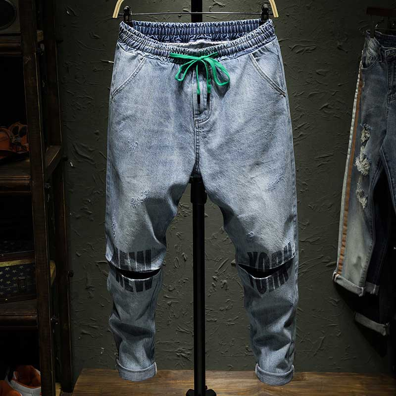 Korean Fashion Knee Holes Ripped   Jeans   Mens Hip Hop Harem Pants Streetwear Blue Trousers Elastic Waist Man Clothes