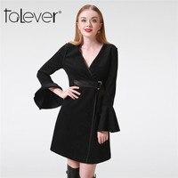 Sonbahar Kış Kadın Vintage Süet Elbise Siyah Kemer V Yaka Flare Uzun Kollu Tunik Kimono Zarif Seksi Kadın Parti Elbise Talever