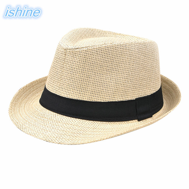 Ishine Man Women Summer Beach Hat Female Casual Panama Jazz Lady Clic Straw Sun