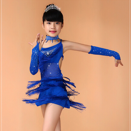 New 2017 Sequin Fringe Salsa Dress Child Girls Kids Latin Dresses Girls Latin Dance Costumes Blue Pink Black Red