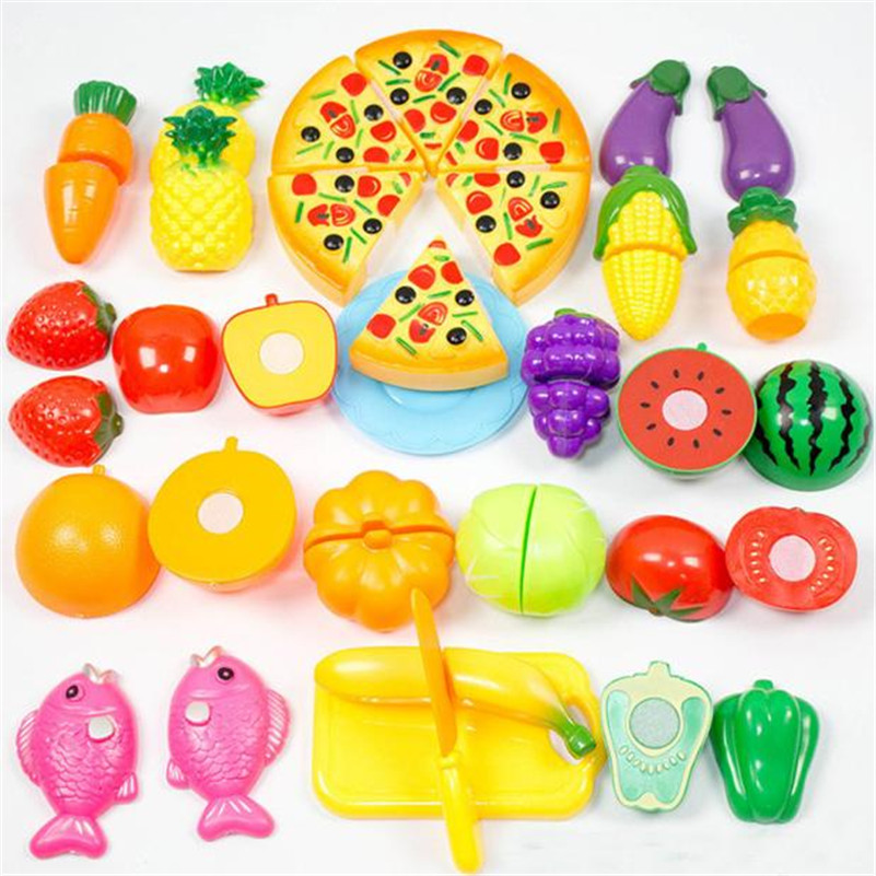 Kids Kitchen 24 Pieces Kitchen Dinner Cutting Treats Fun Play Food Set Living Toys for kid children safety non-toxic Plastic A1