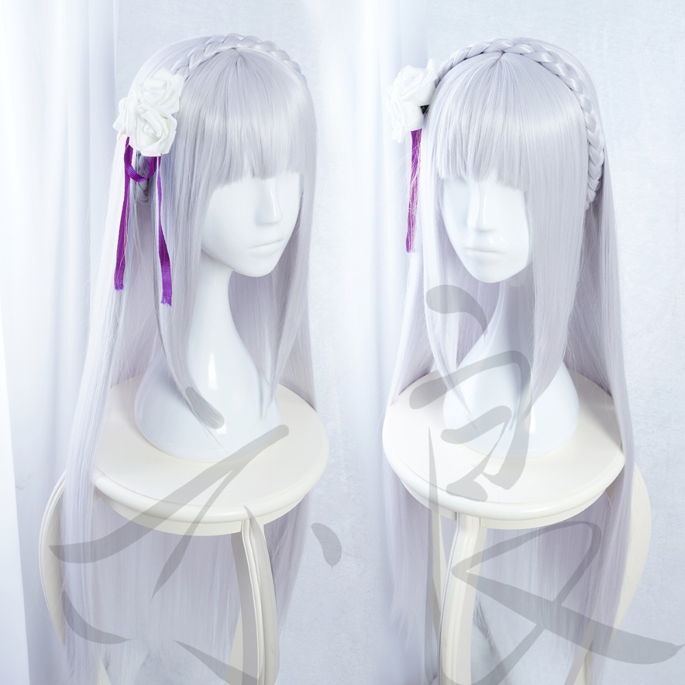 new cartoon life in a different world from zero long emilia cosplay wig cheap wigs free. Black Bedroom Furniture Sets. Home Design Ideas